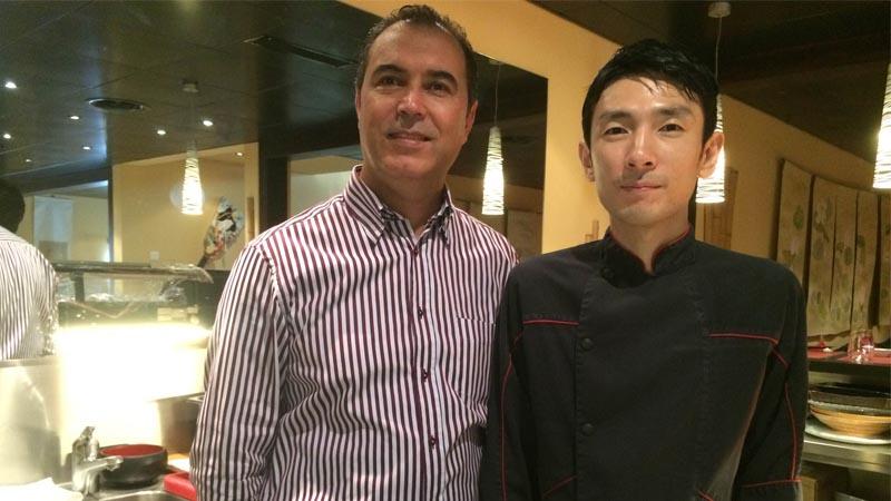 Geschäftsführer,Moez Boussaid und Yoshikazu Tachiban, Küchenchef des Restaurant Myoko in Zermatt.